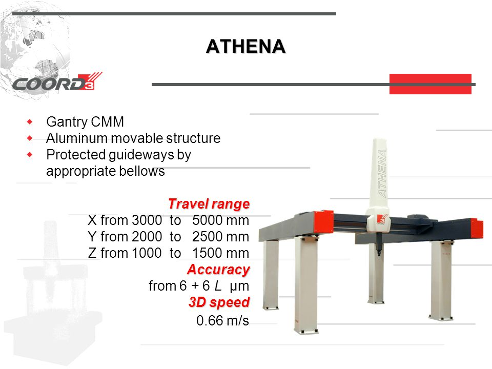 ATHENA  Gantry CMM  Aluminum movable structure  Protected guideways by appropriate bellows Travel range Travel range X from 3000 to 5000 mm Y from 2000 to 2500 mm Z from 1000 to 1500 mm Accuracy Accuracy from 6 + 6 L µm 3D speed 3D speed 0.66 m/s