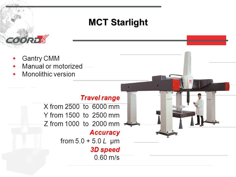 MCT Starlight  Gantry CMM  Manual or motorized  Monolithic version Travel range Travel range X from 2500 to 6000 mm Y from 1500 to 2500 mm Z from 1000 to 2000 mm Accuracy Accuracy from 5.0 + 5.0 L µm 3D speed 3D speed 0.60 m/s