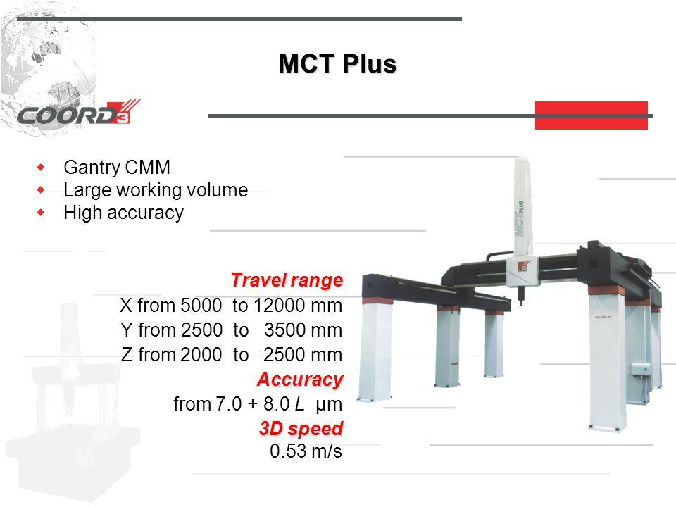 MCT Plus  Gantry CMM  Large working volume  High accuracy Travel range Travel range X from 5000 to 12000 mm Y from 2500 to 3500 mm Z from 2000 to 2500 mm Accuracy Accuracy from 7.0 + 8.0 L µm 3D speed 3D speed 0.53 m/s