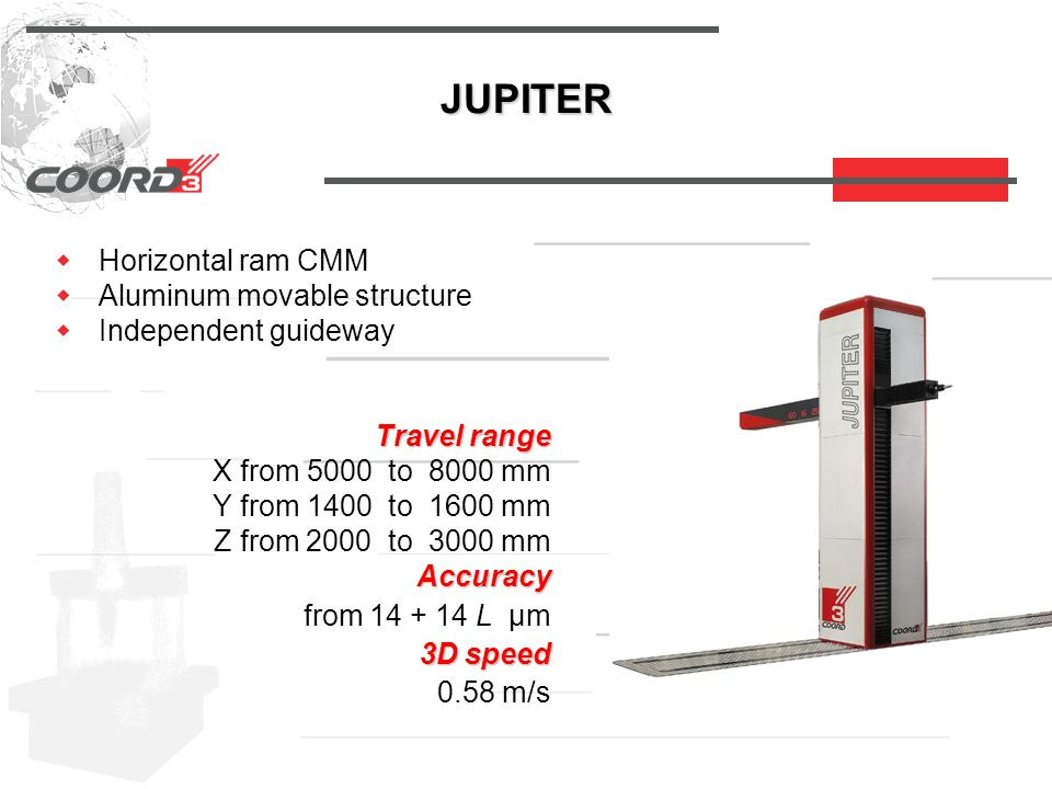 JUPITER  Horizontal ram CMM  Aluminum movable structure  Independent guideway Travel range Travel range X from 5000 to 8000 mm Y from 1400 to 1600 mm Z from 2000 to 3000 mm Accuracy Accuracy from 14 + 14 L µm 3D speed 3D speed 0.58 m/s