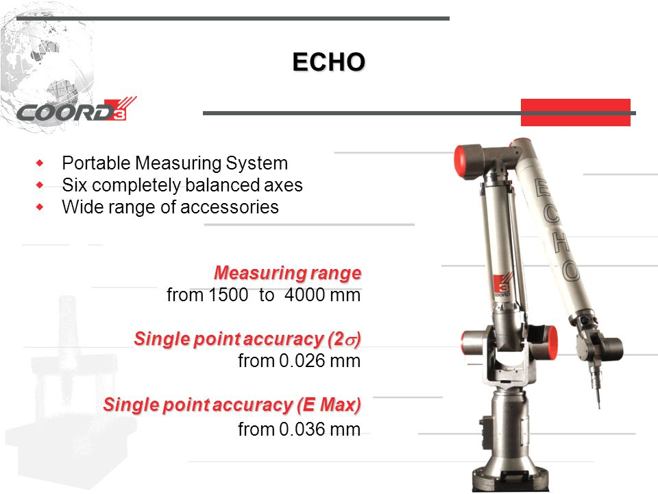 ECHO  Portable Measuring System  Six completely balanced axes  Wide range of accessories Measuring range Measuring range from 1500 to 4000 mm Single point accuracy (2  ) Single point accuracy (2  ) from 0.026 mm Single point accuracy (E Max) Single point accuracy (E Max) from 0.036 mm