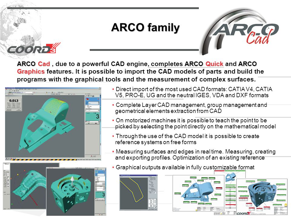 ARCO family ARCO CadARCO QuickARCO Graphics ARCO Cad, due to a powerful CAD engine, completes ARCO Quick and ARCO Graphics features.