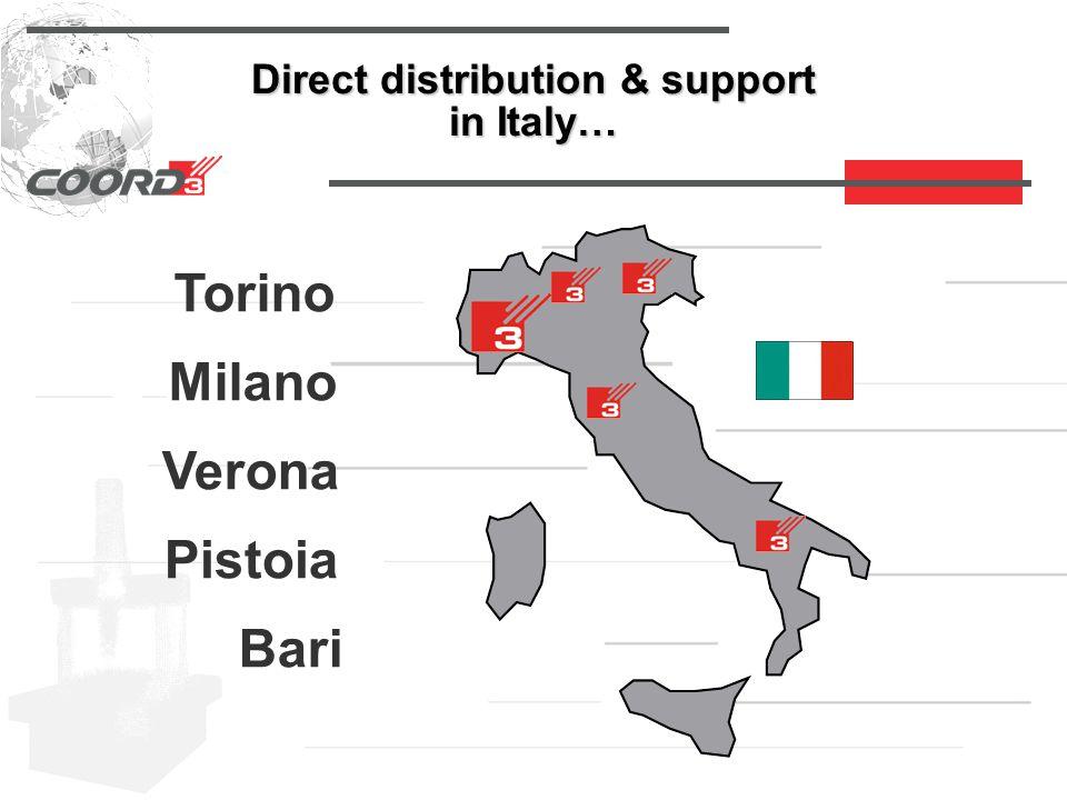 Direct distribution & support in Italy… Torino Milano Verona Pistoia Bari