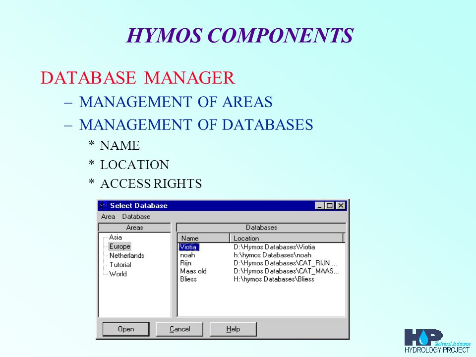 HYMOS COMPONENTS USERS, GROUPS AND DATABASES –USER 1 CAN USE DATABASE1 AND DATABASE2 –USER 2 CAN USE DATABASE1, DATABASE2, DATABASE3 AND DATABASE 4 –...