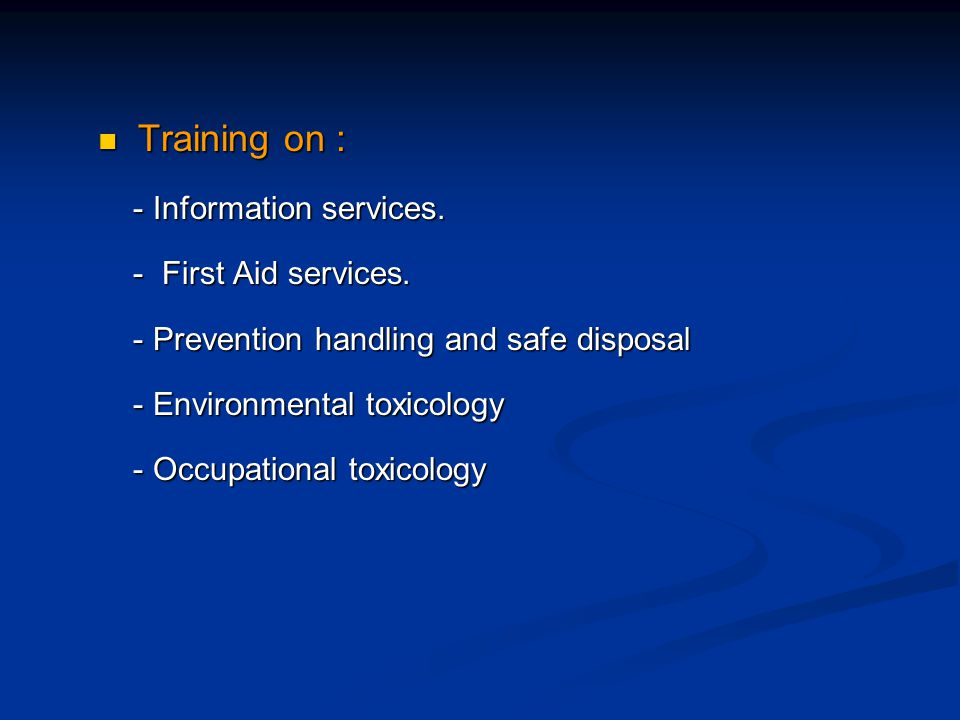Training on : Training on : - Information services.
