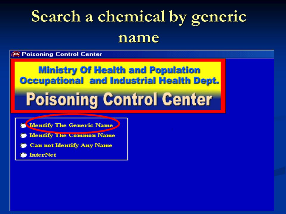 Search a chemical by generic name