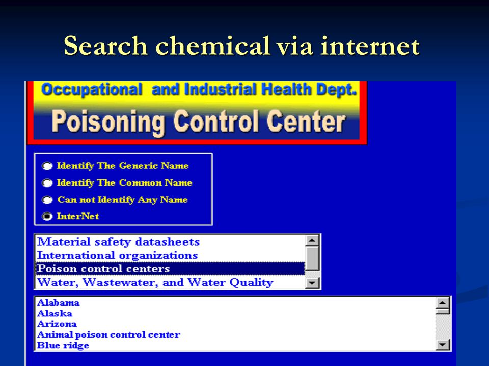 Search chemical via internet