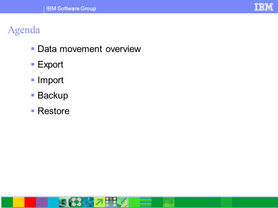 IBM Software Group Agenda  Data movement overview  Export  Import  Backup  Restore
