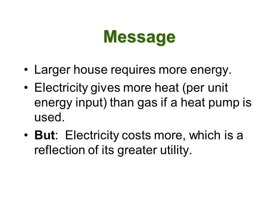 Message Larger house requires more energy.