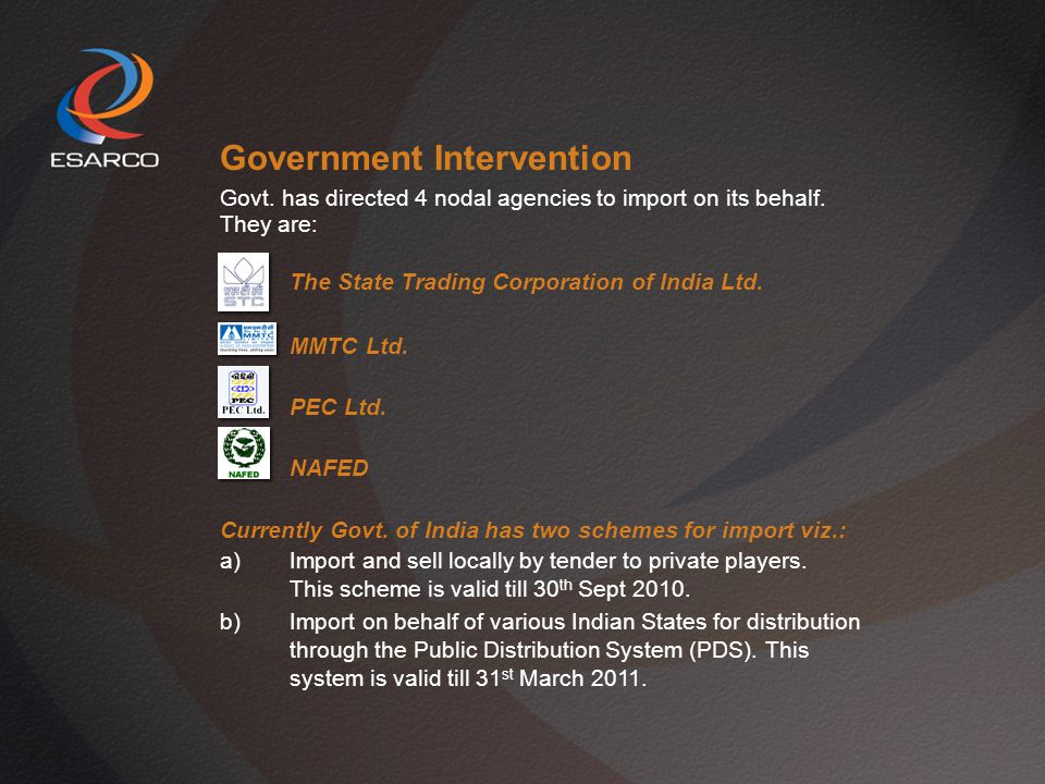 Government Intervention Govt.has directed 4 nodal agencies to import on its behalf.