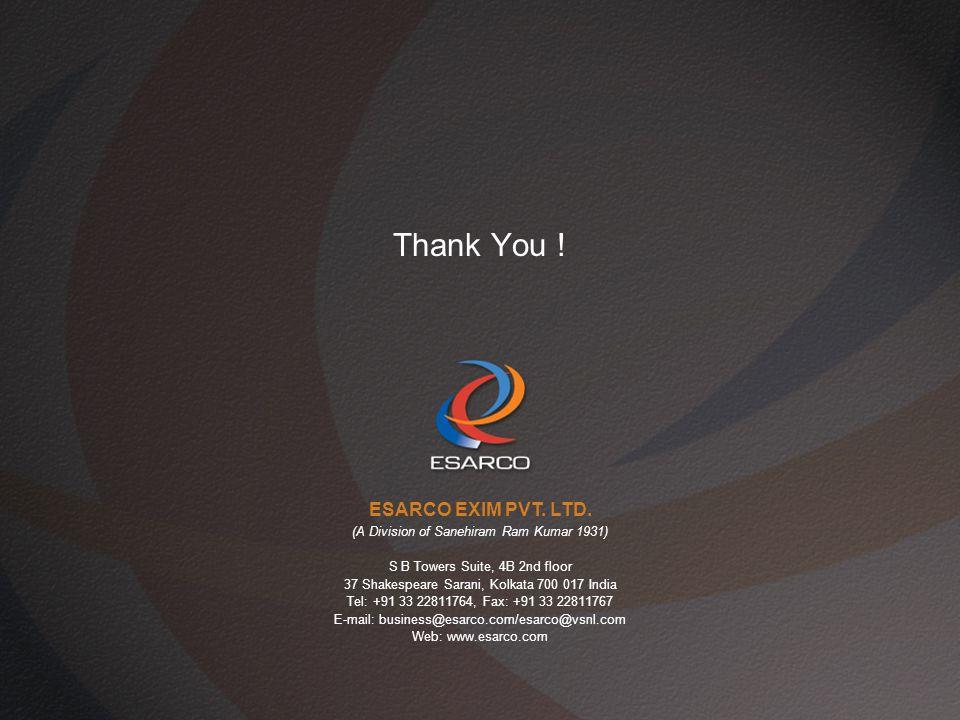 Thank You .ESARCO EXIM PVT. LTD.