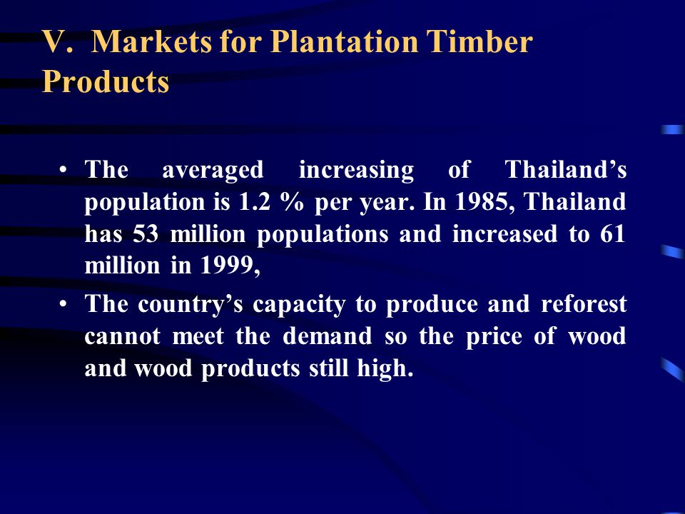 "Rubberwood, the world market called it ""White Teak"" Eucalyptus sp., from Australia, used in pulp and paper industry. Teak from plantation will be the"