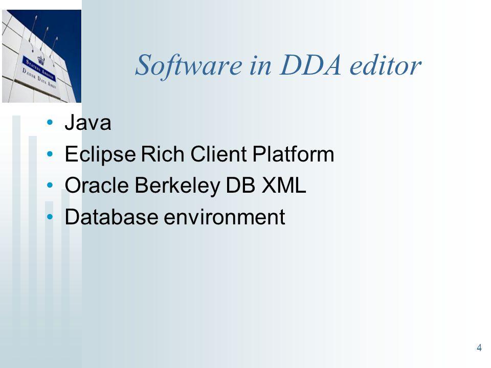 4 Software in DDA editor Java Eclipse Rich Client Platform Oracle Berkeley DB XML Database environment