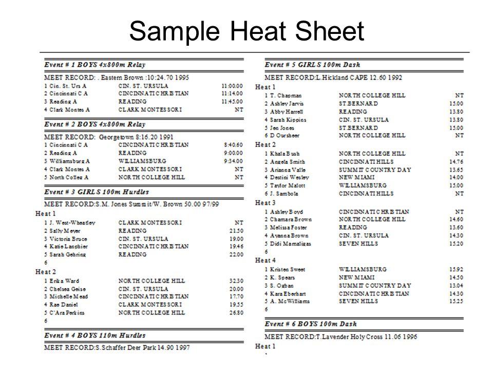 Sample Heat Sheet