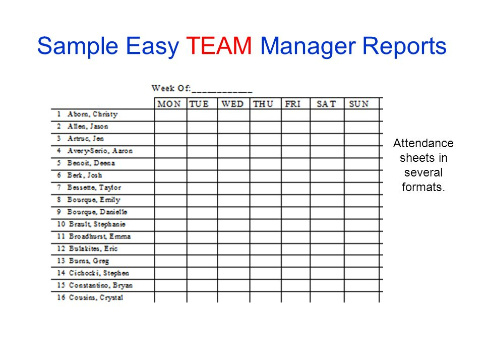 Sample Easy TEAM Manager Reports Attendance sheets in several formats.