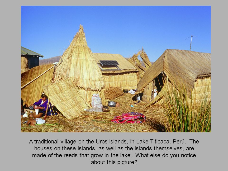 A traditional village on the Uros islands, in Lake Titicaca, Perú.