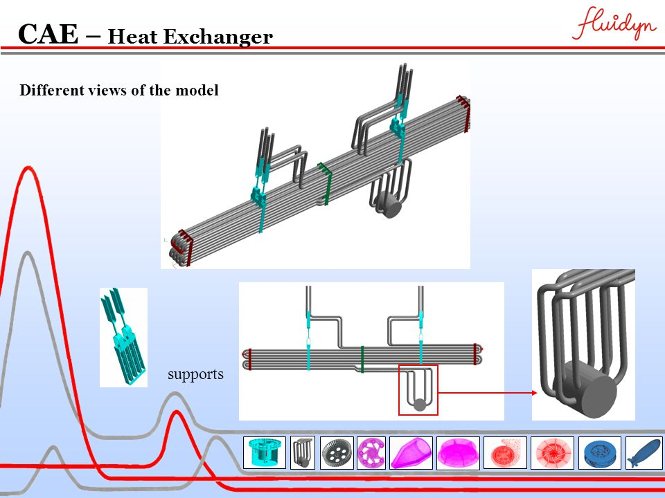 supports Different views of the model CAE – Heat Exchanger