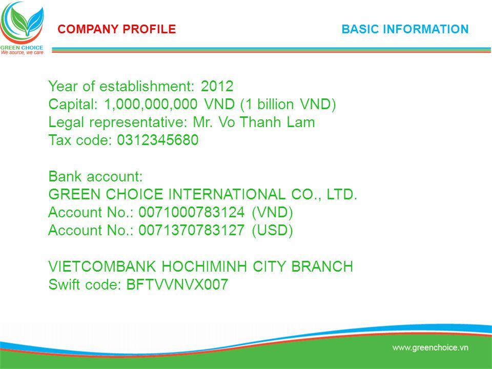 Year of establishment: 2012 Capital: 1,000,000,000 VND (1 billion VND) Legal representative: Mr. Vo Thanh Lam Tax code: 0312345680 Bank account: GREEN