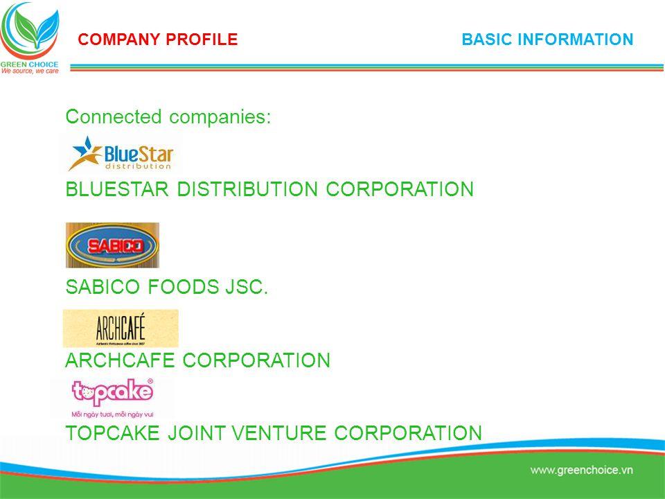 Connected companies: BLUESTAR DISTRIBUTION CORPORATION SABICO FOODS JSC. ARCHCAFE CORPORATION TOPCAKE JOINT VENTURE CORPORATION COMPANY PROFILE BASIC
