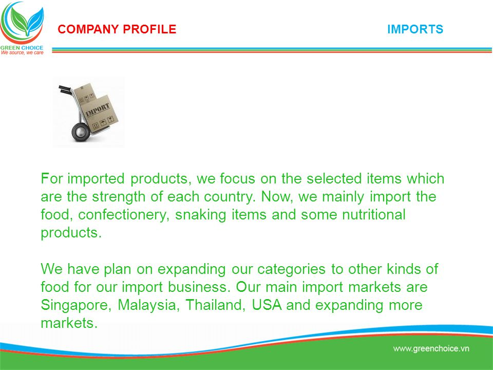 About international business consultant, we do it for our partners and customers including the works such as direct business transaction between customer and supplier, consulting for dealing, product development, regulation of imported countries, imports / exports procedure, transportation, payment procedure, and customers care after sales.