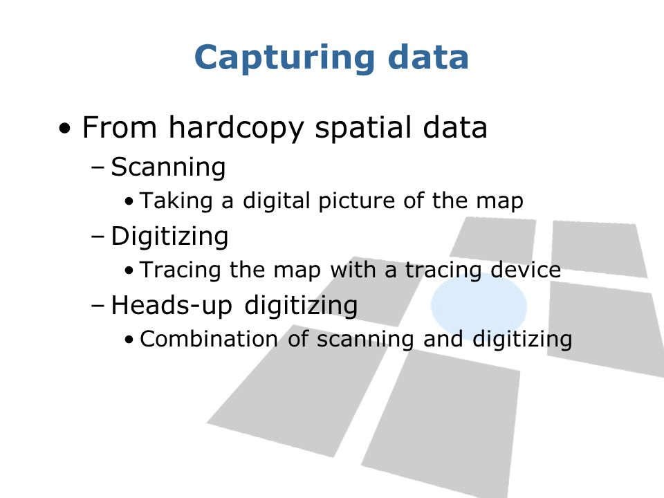Capturing data From hardcopy spatial data –Scanning Taking a digital picture of the map –Digitizing Tracing the map with a tracing device –Heads-up di