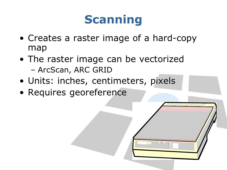 Scanning Creates a raster image of a hard-copy map The raster image can be vectorized –ArcScan, ARC GRID Units: inches, centimeters, pixels Requires georeference