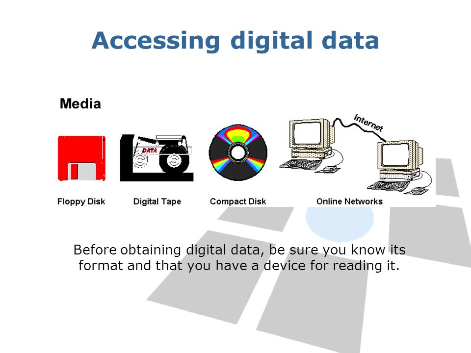 Accessing digital data Before obtaining digital data, be sure you know its format and that you have a device for reading it.