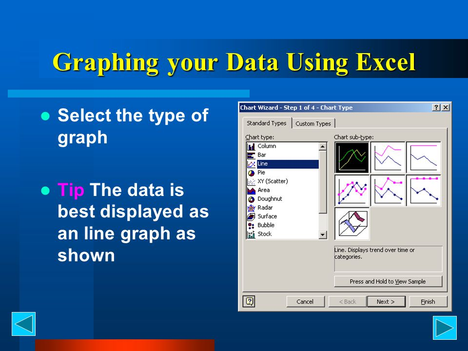 Graphing your Data Using Excel Select the type of graph Tip The data is best displayed as an line graph as shown