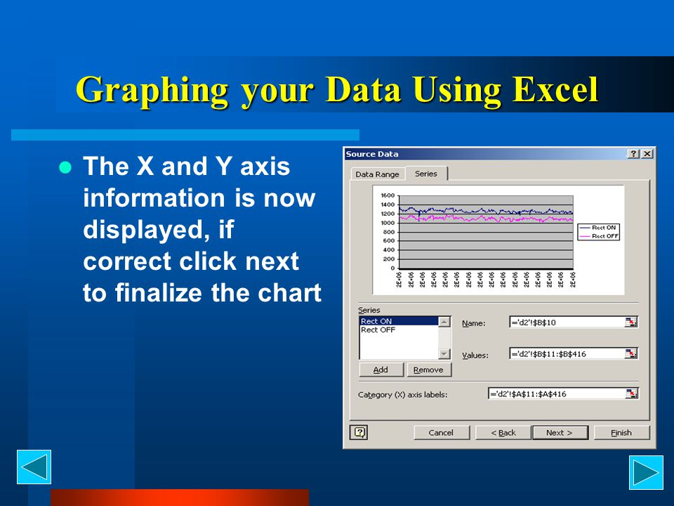 Graphing your Data Using Excel The X and Y axis information is now displayed, if correct click next to finalize the chart