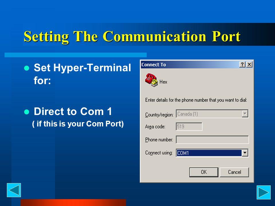 Configuring Hyper-Terminal 19,200 baud 8 data bits 1 Stop Bit No Parity X on X off