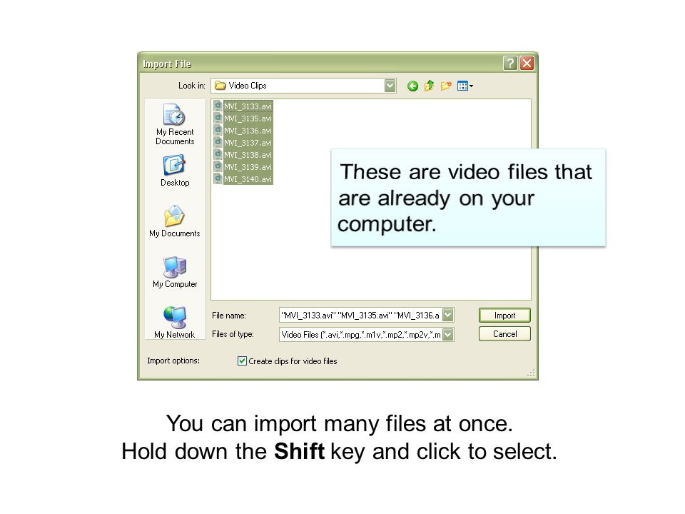 You can import many files at once. Hold down the Shift key and click to select.