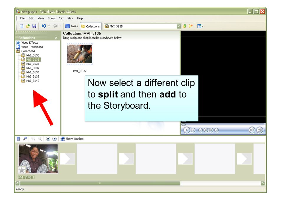Now select a different clip to split and then add to the Storyboard.