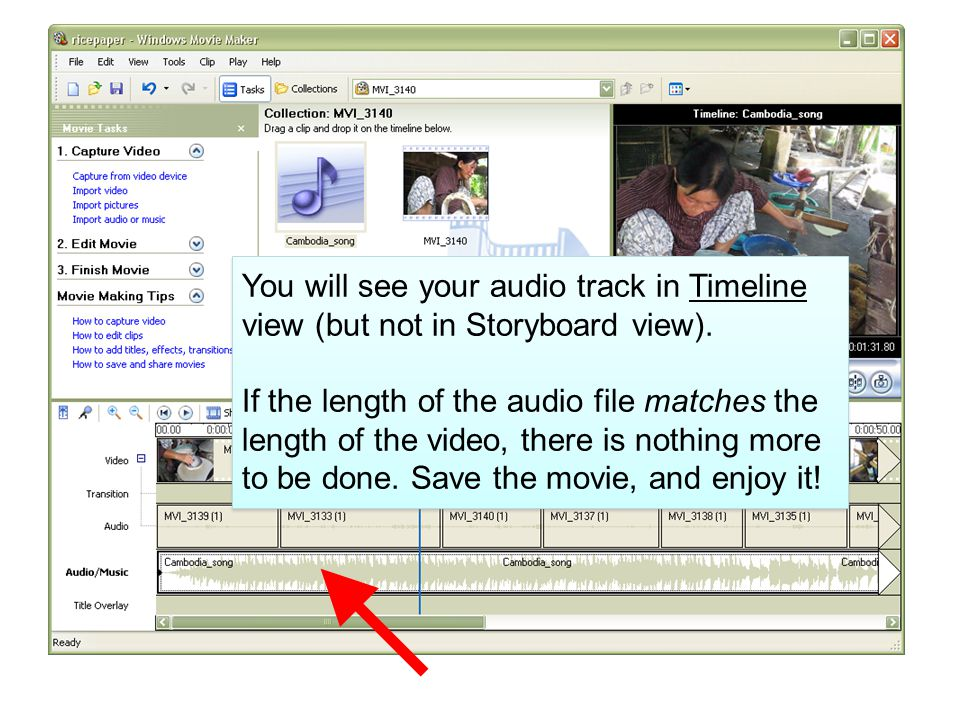 You will see your audio track in Timeline view (but not in Storyboard view).