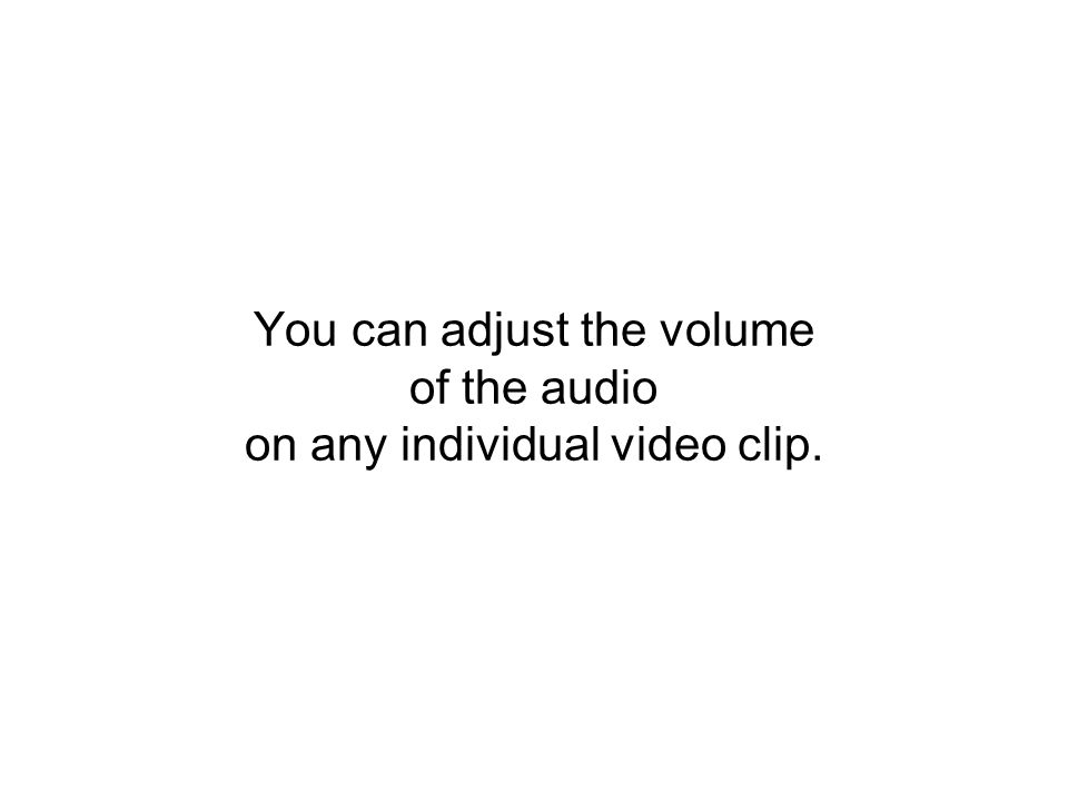You can adjust the volume of the audio on any individual video clip.