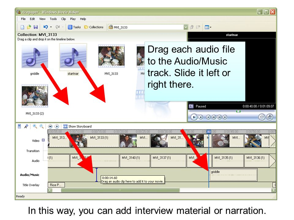 Drag each audio file to the Audio/Music track. Slide it left or right there.