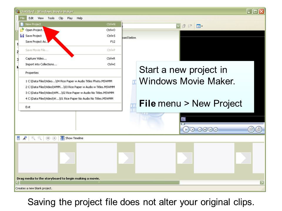 Start a new project in Windows Movie Maker.