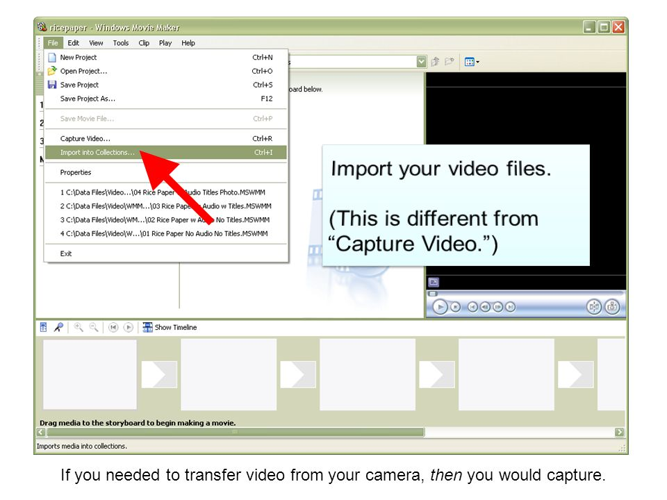 If you needed to transfer video from your camera, then you would capture.