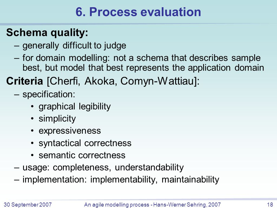 30 September 2007An agile modelling process - Hans-Werner Sehring, 200718 6.