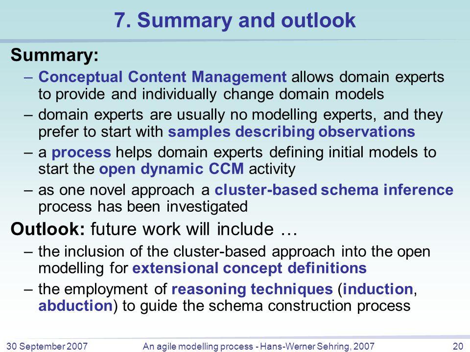 30 September 2007An agile modelling process - Hans-Werner Sehring, 200720 7.