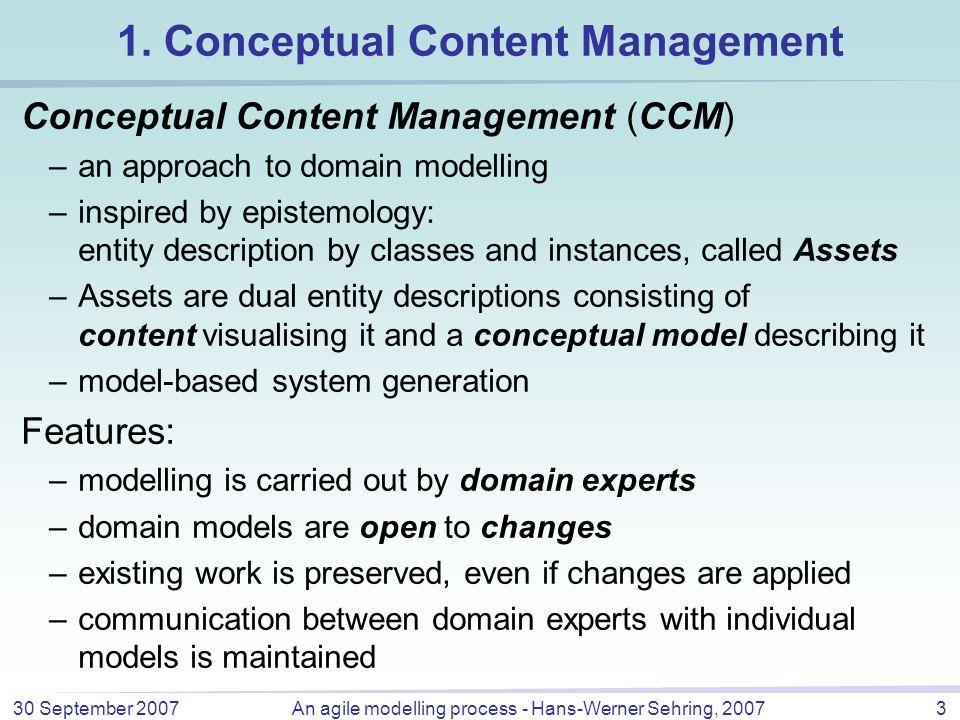 30 September 2007An agile modelling process - Hans-Werner Sehring, 20073 1.