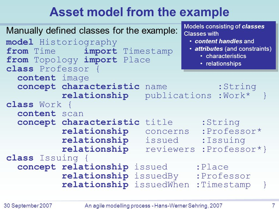 30 September 2007An agile modelling process - Hans-Werner Sehring, 20078 Asset model from the example (cont'd) Example of personalisation: a domain expert introduces the distinction of documents: model MyHistoriography from Historiography import Work, Professor class Work { concept relationship reviewer unused } class Dissertation refines Work { concept relationship reviewer :Professor* } Import and redefinition of classes for schema evolution (user communities) personalisation (single users) … Import and redefinition of classes for schema evolution (user communities) personalisation (single users) …