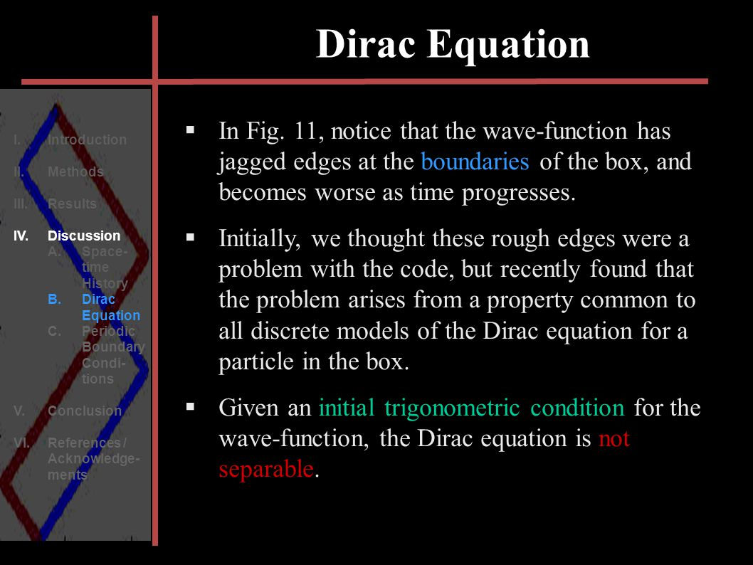 Dirac Equation I. Introduction II. Methods III.Results IV.Discussion A.Space- time History B.Dirac Equation C.Periodic Boundary Condi- tions V.Conclus