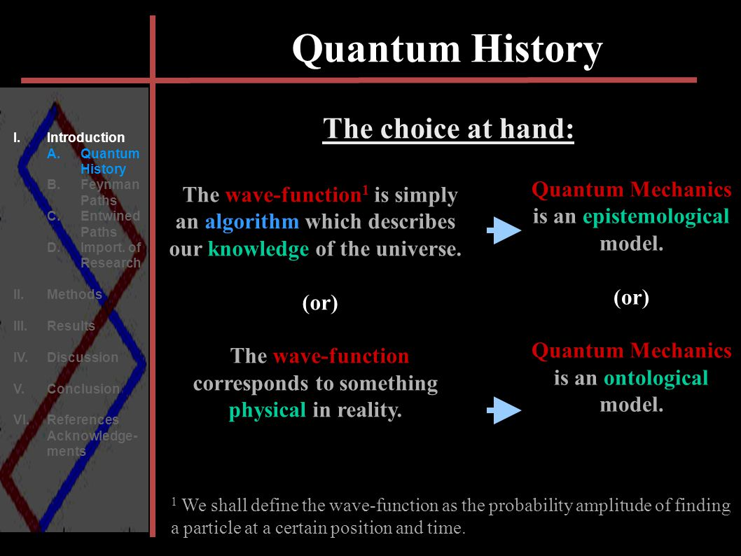 Quantum History = The wave-function 1 is simply an algorithm which describes our knowledge of the universe. = (or) = The wave-function corresponds to