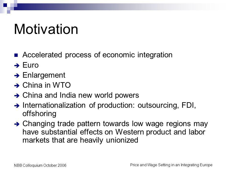 Price and Wage Setting in an Integrating Europe NBB Colloquium October 2006 Conclusion Union power and mark-ups are positively related Import penetration reduces mark-ups and bargaining power This effect is strongest for imports that come from the low wage countries Outsourcing tends to have a positive effect on mark- ups and bargaining power
