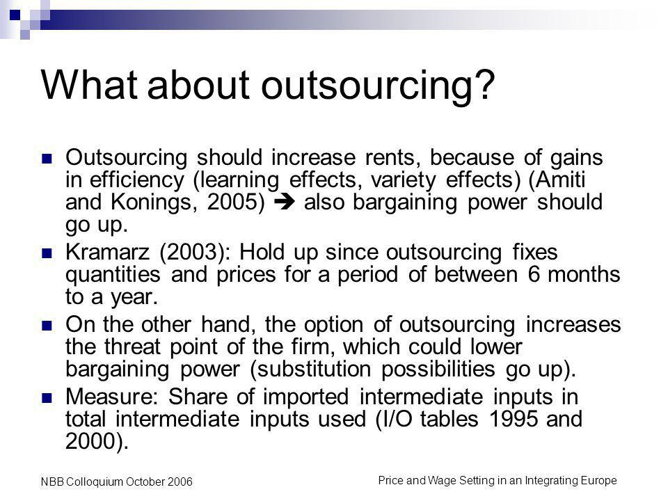 Price and Wage Setting in an Integrating Europe NBB Colloquium October 2006 What about outsourcing.