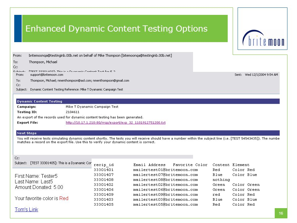 16 Enhanced Dynamic Content Testing Options