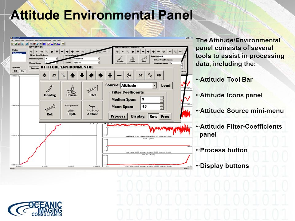 Attitude Environmental Panel The Attitude/Environmental panel consists of several tools to assist in processing data, including the: ·Attitude Tool Ba