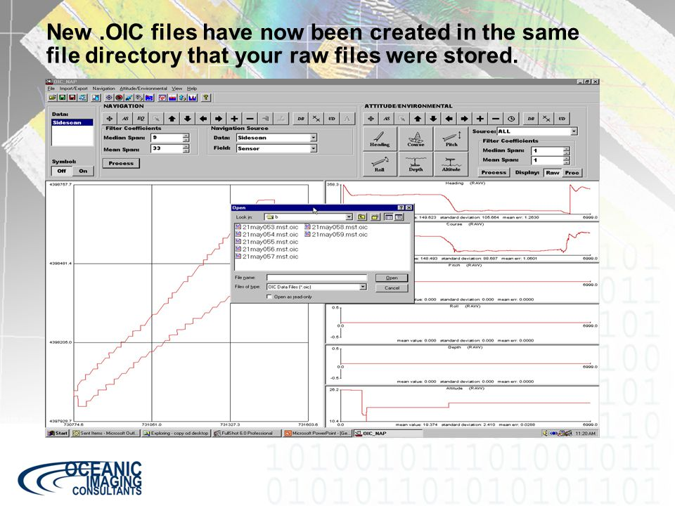 New.OIC files have now been created in the same file directory that your raw files were stored.