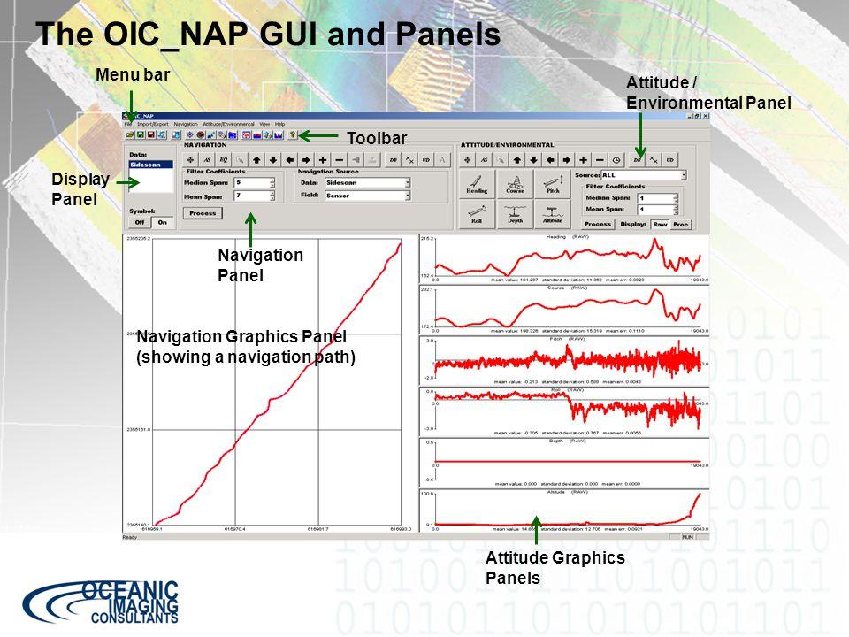 The OIC_NAP GUI and Panels Attitude / Environmental Panel Attitude Graphics Panels Navigation Panel Navigation Graphics Panel (showing a navigation pa