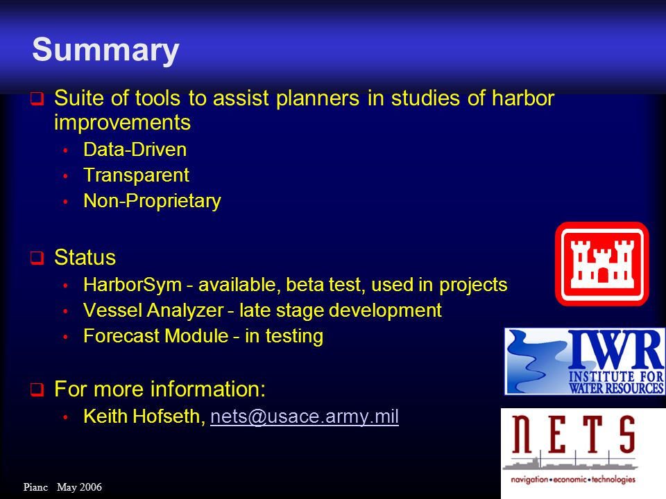 Pianc May 2006 Summary  Suite of tools to assist planners in studies of harbor improvements Data-Driven Transparent Non-Proprietary  Status HarborSy